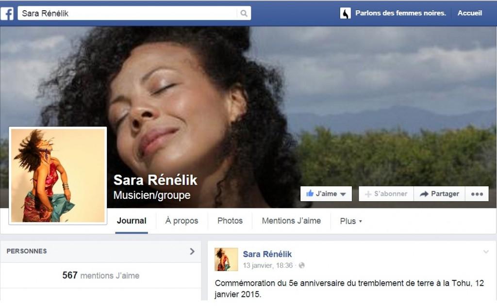 page Facebook de Sara Renelik